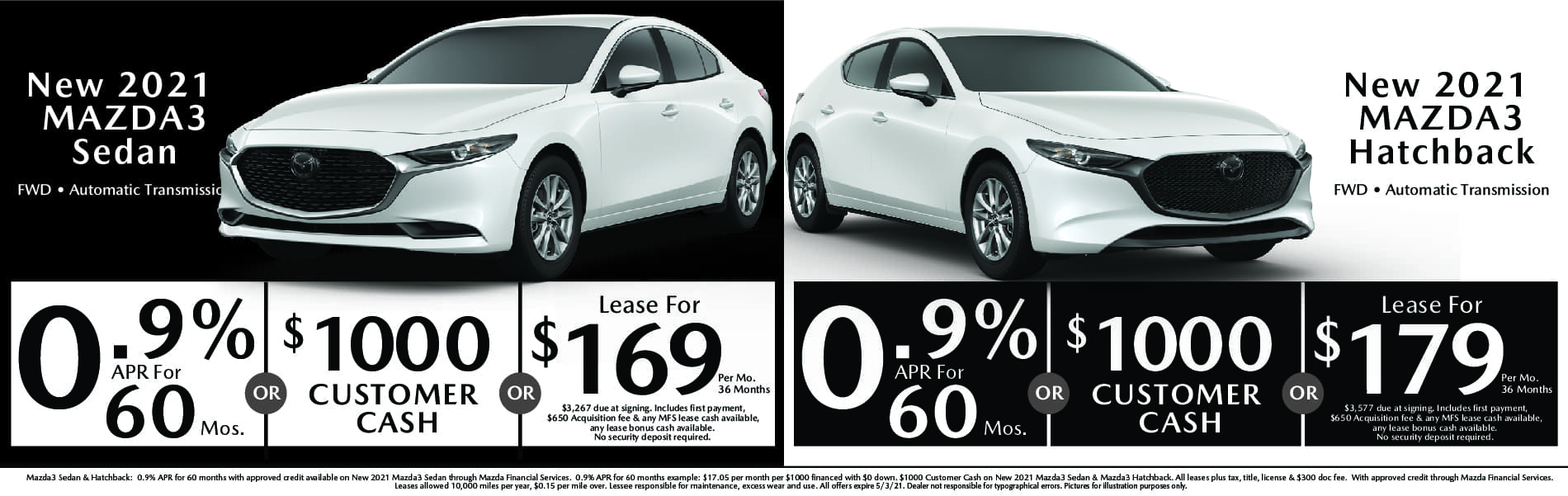 New Mazda3 APR & Lease options