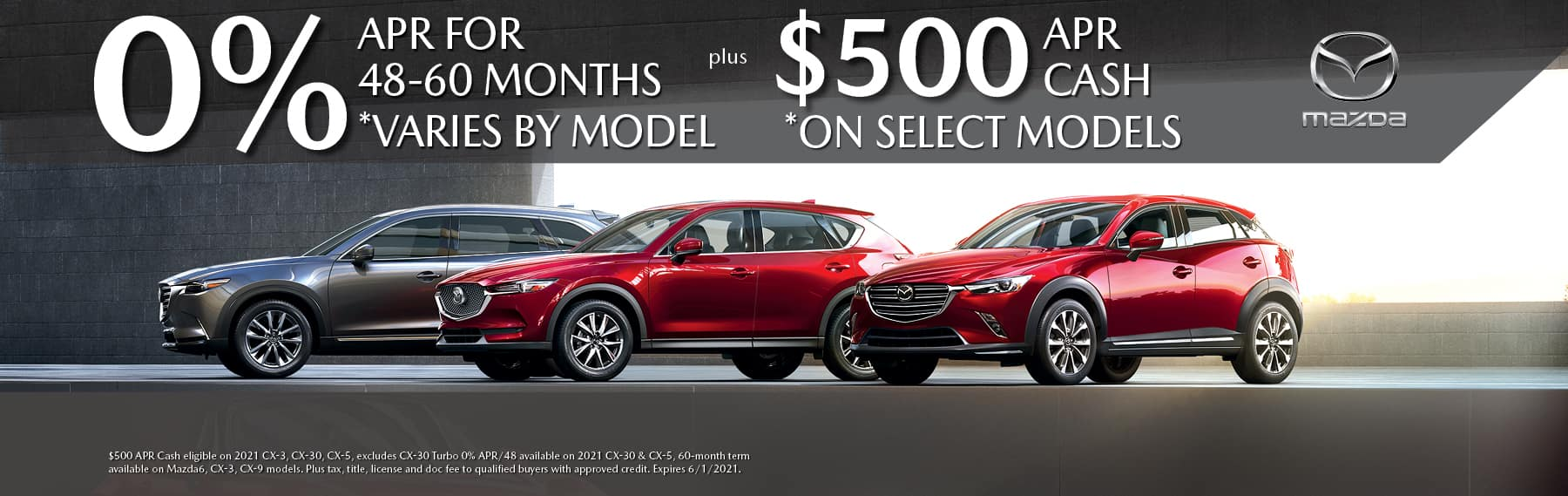 0% APR on select New Mazda vehicles