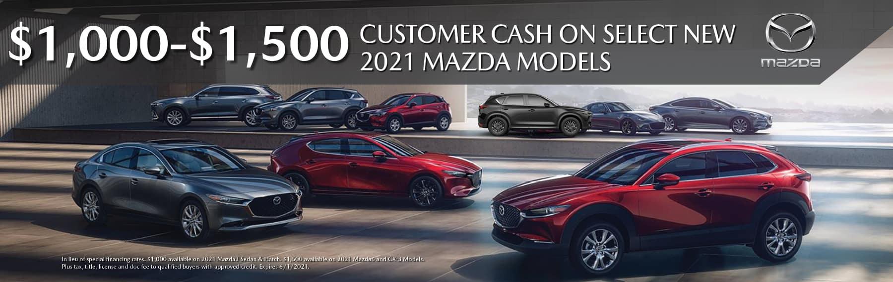 Customer Cash on select New Mazda models