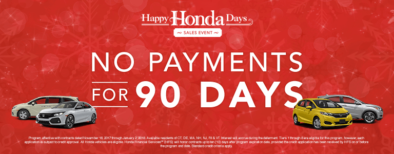 Happy Honda Days 90-Day Deferment from New England Honda Dealers