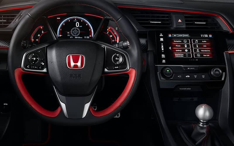 2018 Honda Civic Type R Steering Wheel and Technology Features