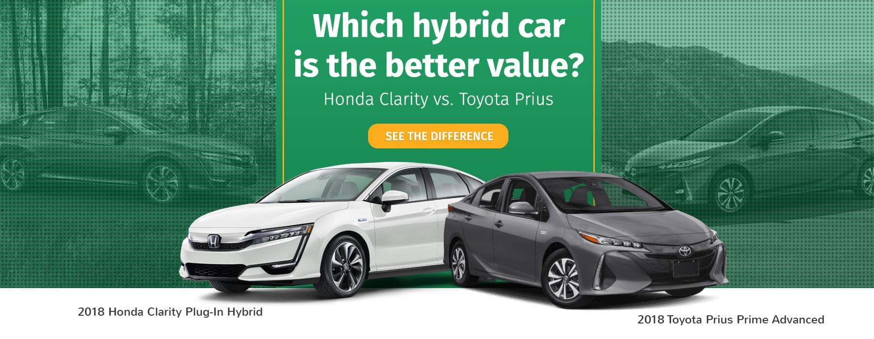 Honda Clarity Versus Toyota Prius Banner