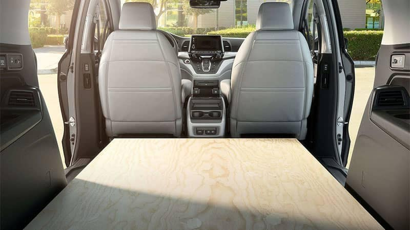 2019 Honda Odyssey Cargo Area with Plywood Loaded with All Seats Down