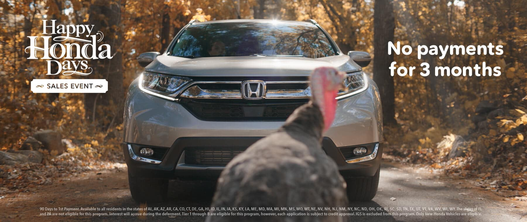 New England Honda Dealers Happy Honda Days Thanksgiving No Payments Slider