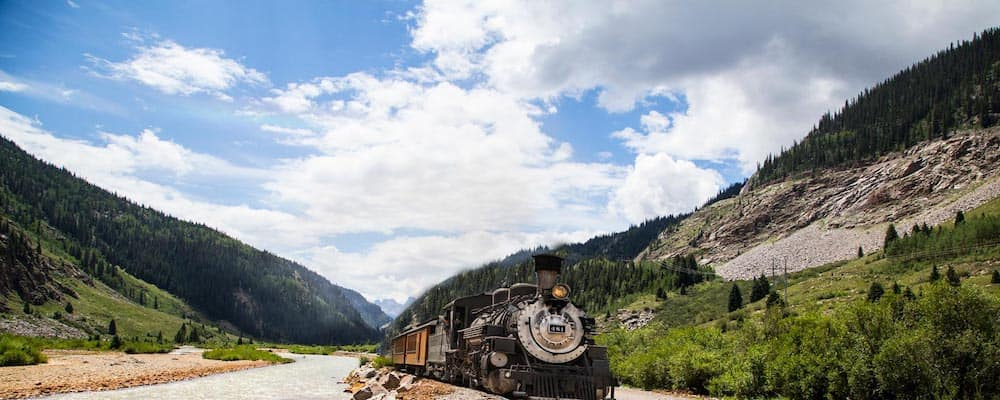 Train going through Durango Colorado
