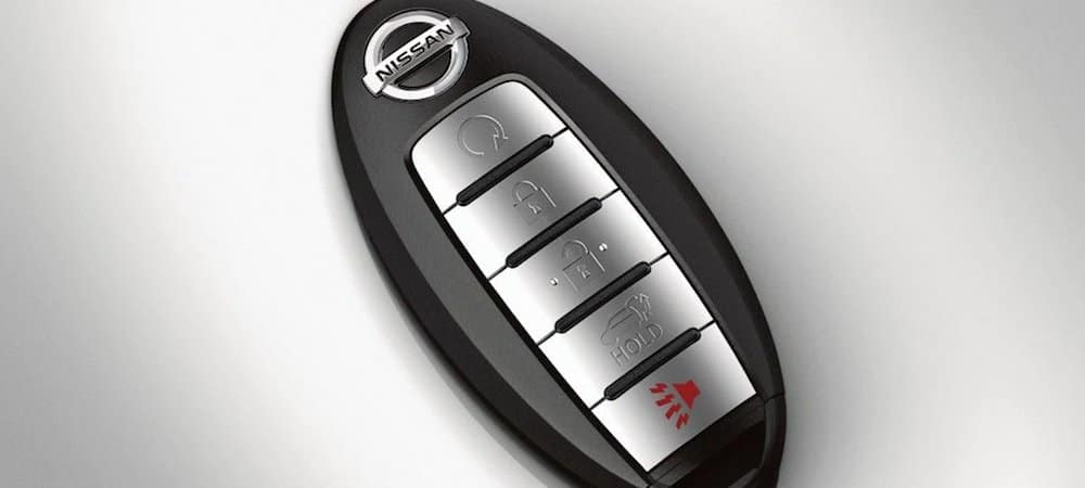 Close-up of a Nissan key fob