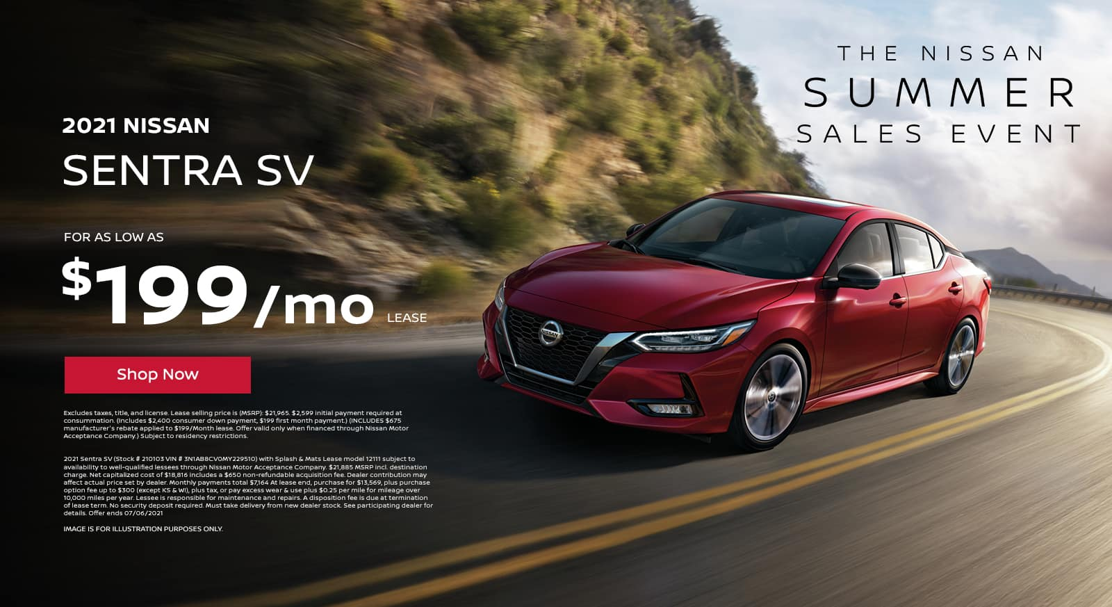 2021 Sentra SV lease as low as $199/mo!