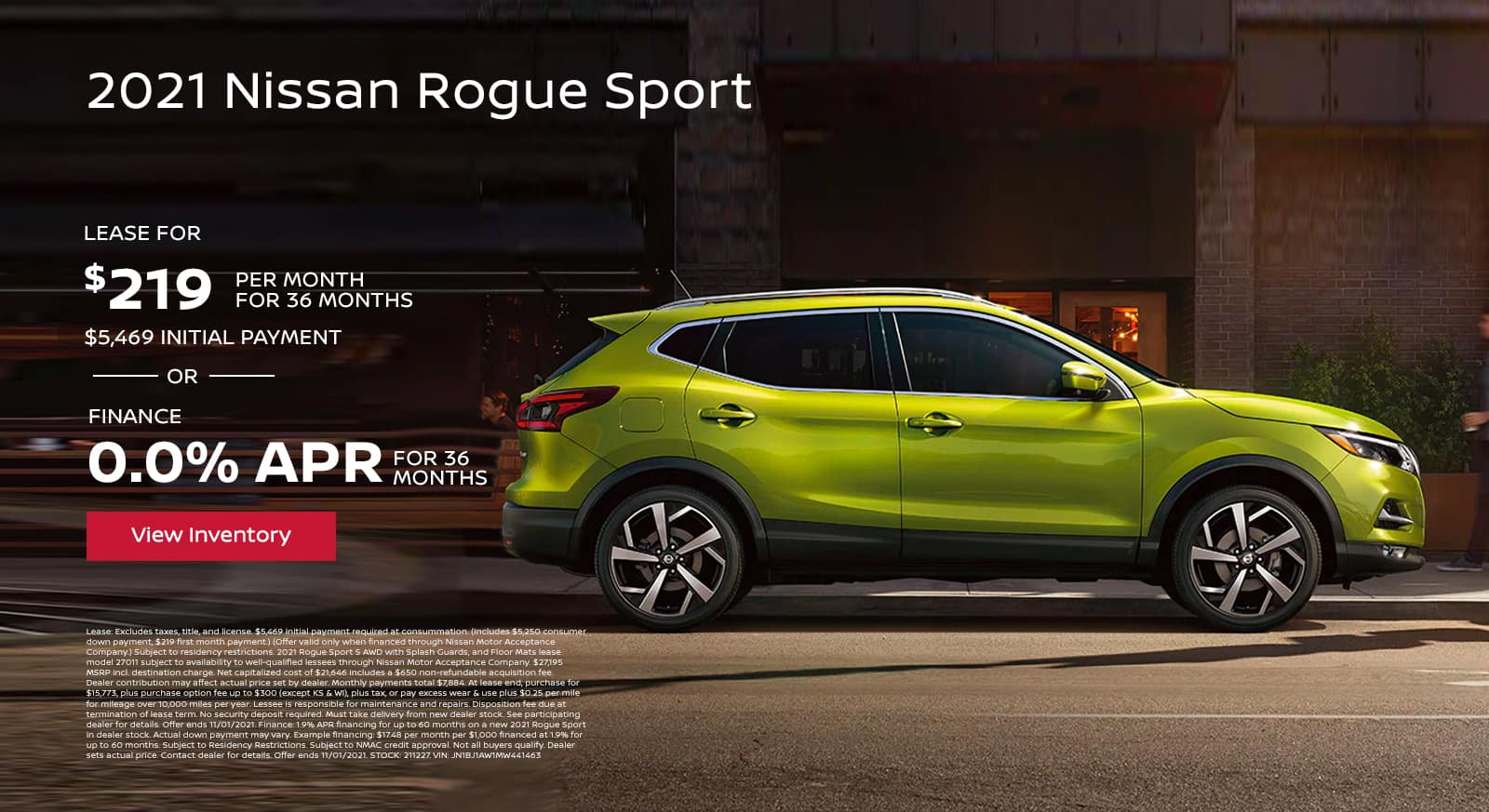 2021 Nissan Rogue Sport $219 Per Month Lease | 36 Months | $5,469 Initial Payment