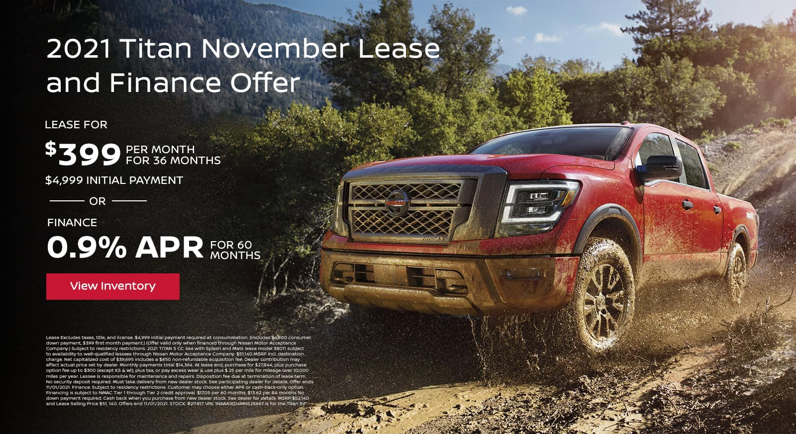 2021 Nissan Titan Lease for $399| 36 Months | $4,999 Inital Payment or 0.9& APR Financing for 60 Months.