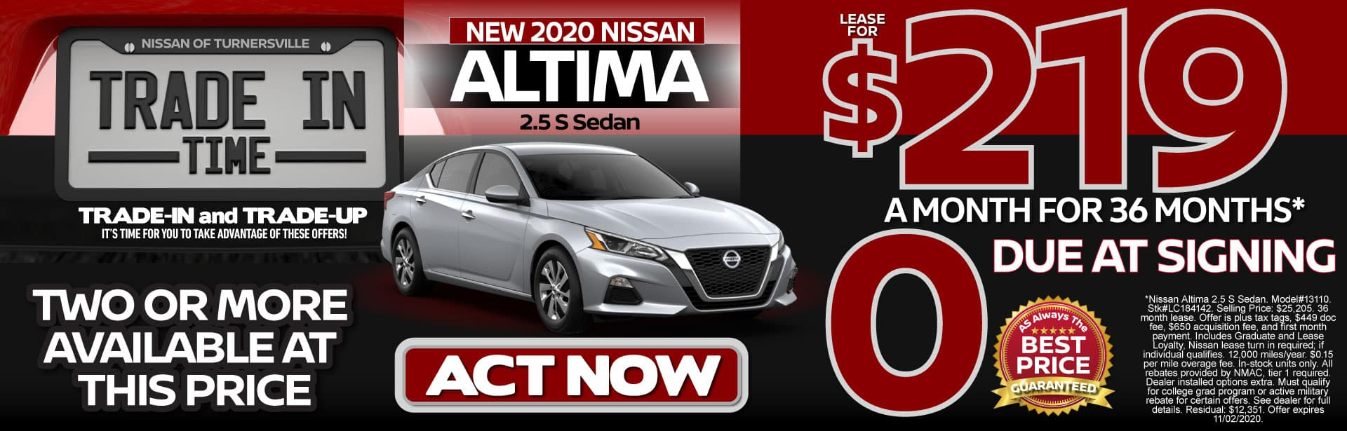 New 2020 Altima Lease for $219 a month for 36 months   Act Now