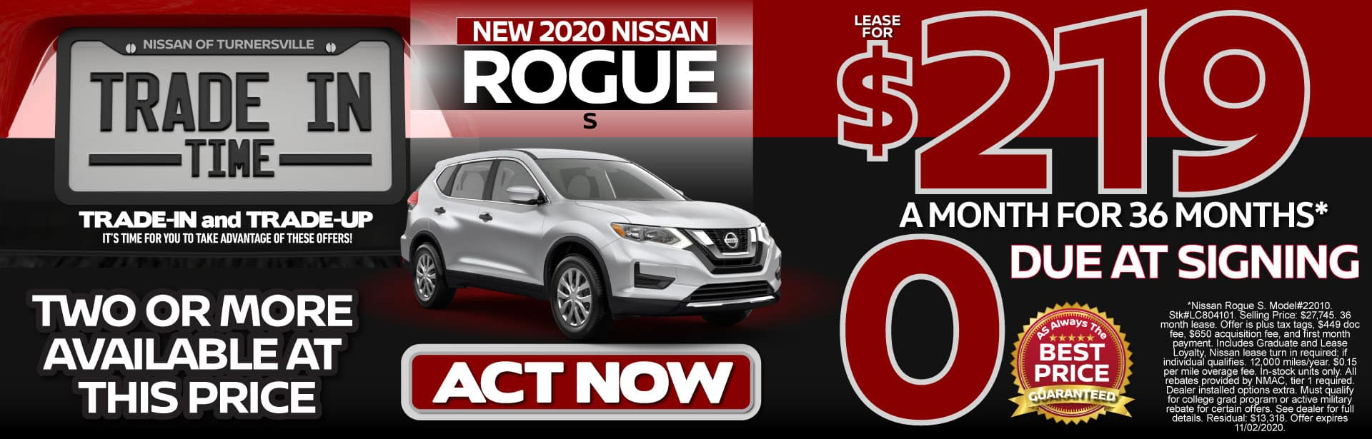 New 2020 Rogue Lease for $219 a month for 36 months   Act Now