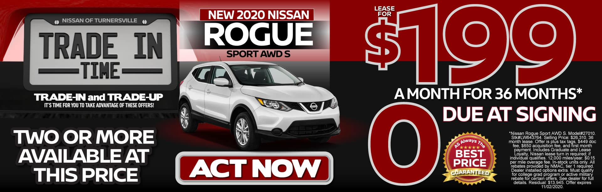 New 2020 Rogue Sport Lease for $199 a month for 36 months   Act Now