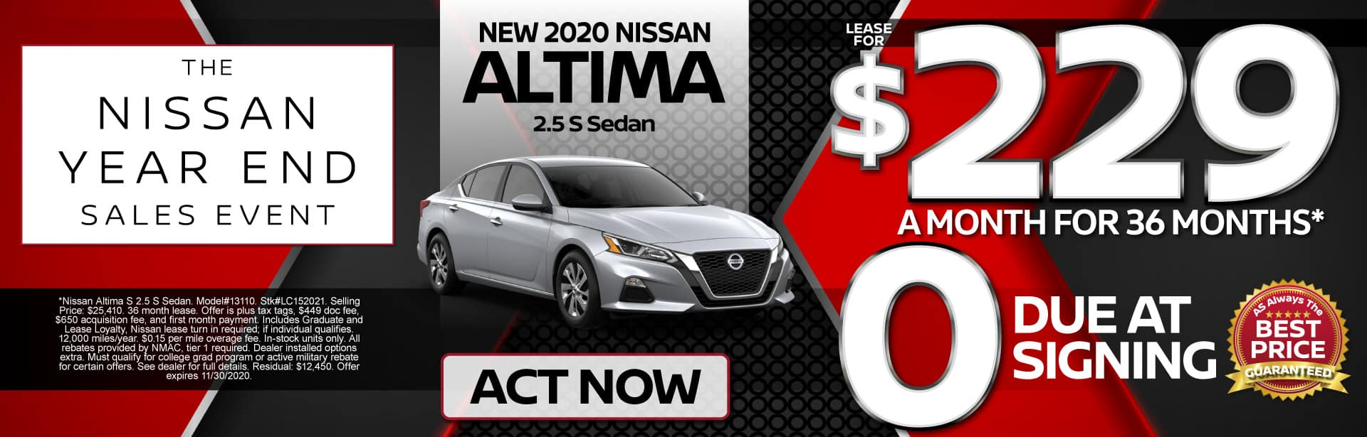 New 2020 Altima Lease for $229 a month for 36 months | Act Now