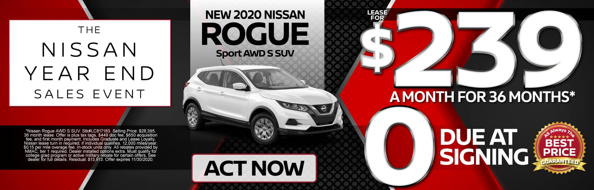 New 2020 Rogue Sport AWD Lease for $239 a month for 36 months | Act Now