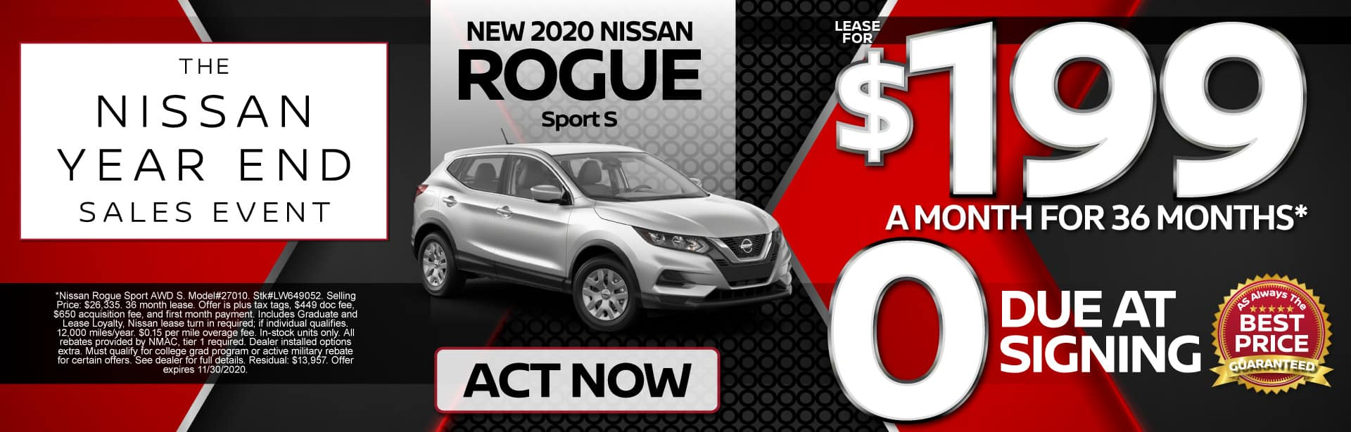 New 2020 Rogue Sport S Lease for $199 a month for 36 months | Act Now