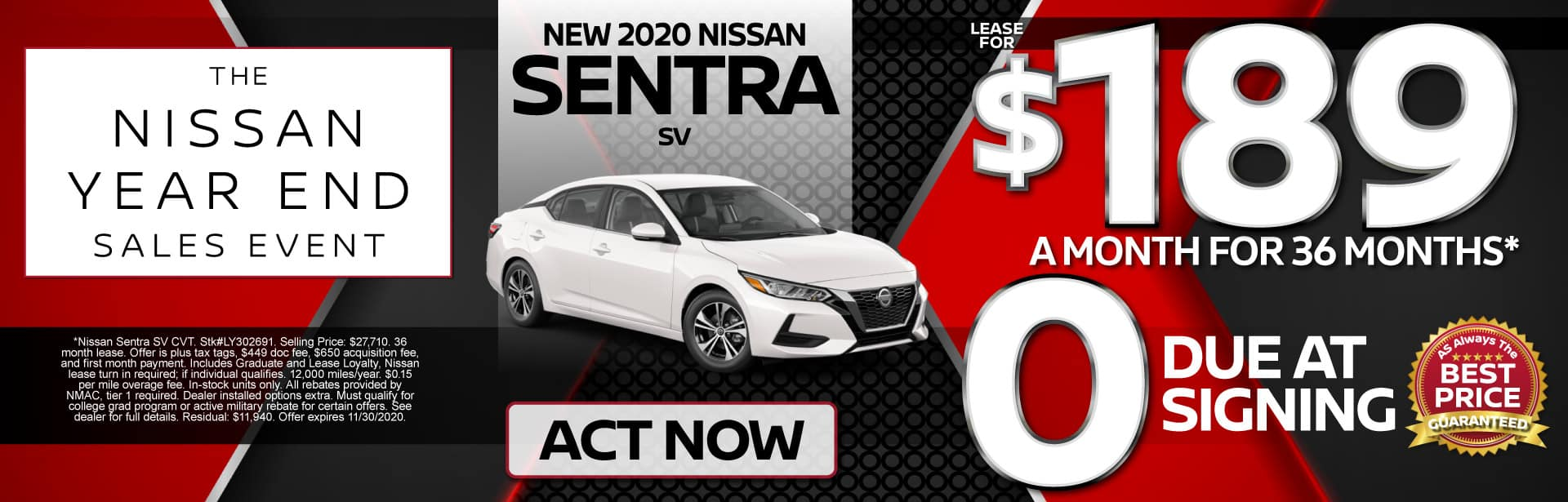 New 2020 Sentra Lease for $189 a month for 36 months | Act Now