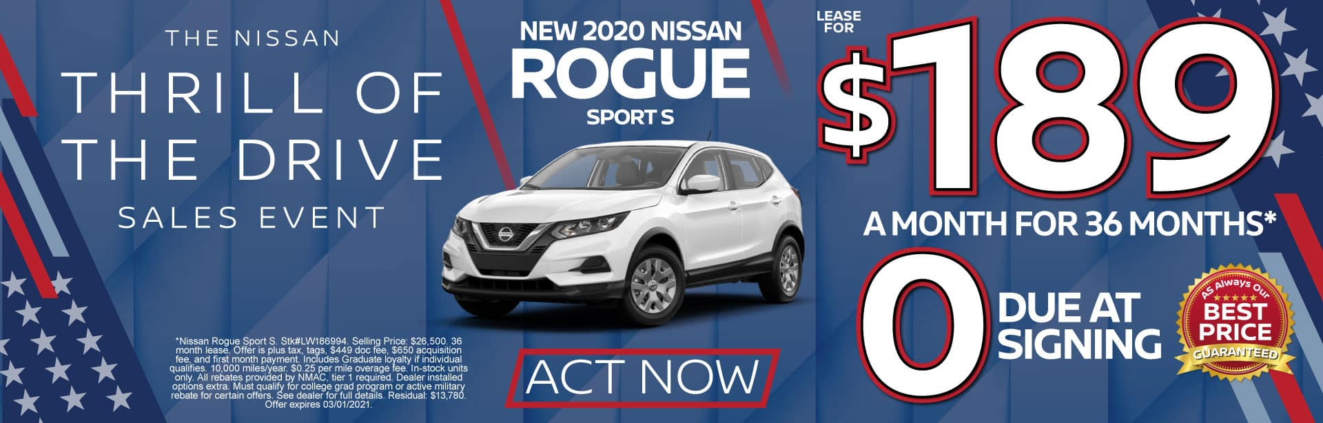 2020 Nissan Rogue Sport S $189 a month for 36 months* ZERO due at signing. Act Now.