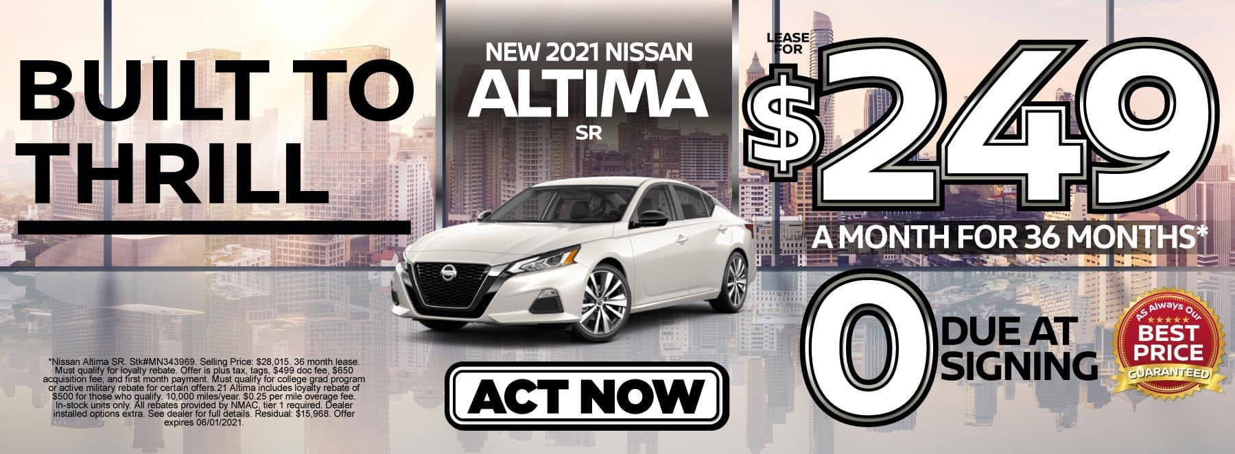 New 2021 Nissan Altima lease for $249 a month | Act Now