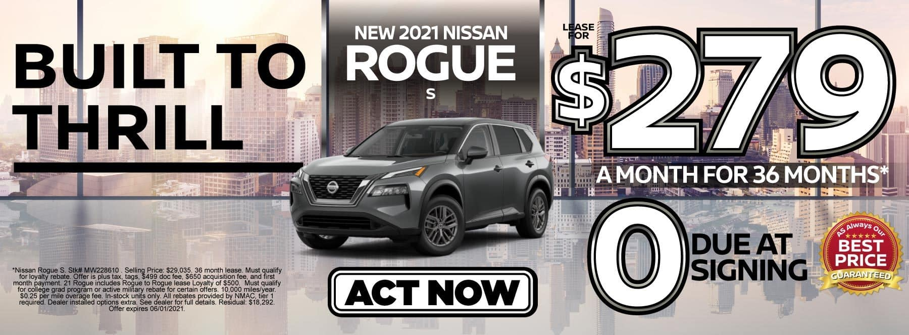 New 2021 Nissan Rogue S lease for $279 a month | Act Now
