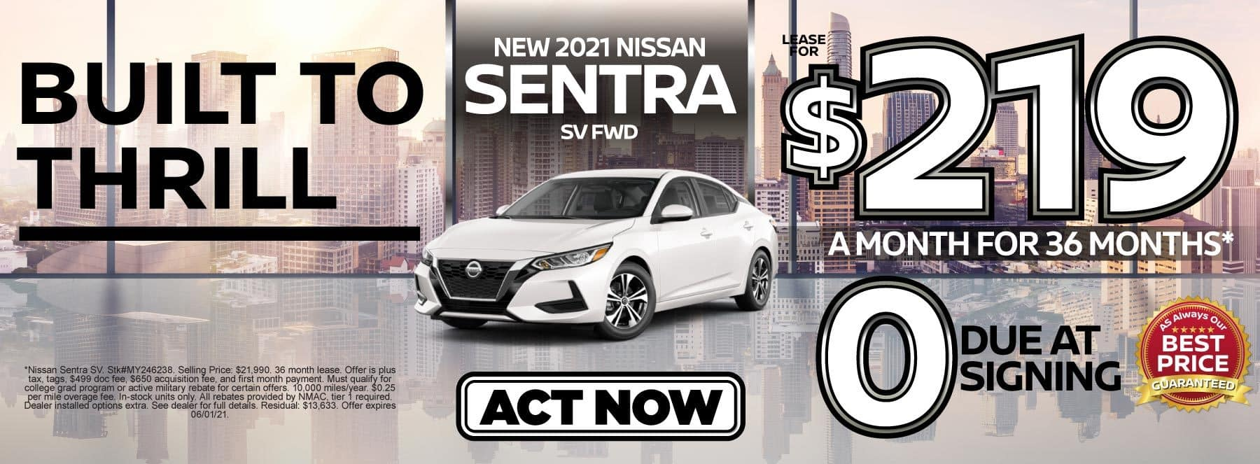 New 2021 Nissan Sentra lease for $219 a month | Act Now