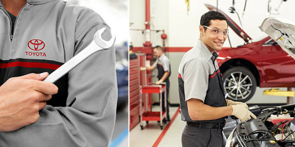 Toyota Service Techs Proving Service to a Toyota Vehicle