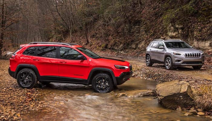 2019 Jeep Cherokees Parked on Dirt Trail