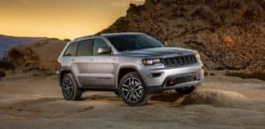 Silver 2018 Jeep Grand Cherokee Trailhawk on Mountain