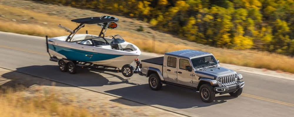 2020 Jeep Gladiator Capability Hauling Boat