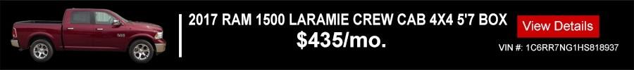 2017 RAM 1500 LARAMIE CREW CAB 4X4 5'7 BOX