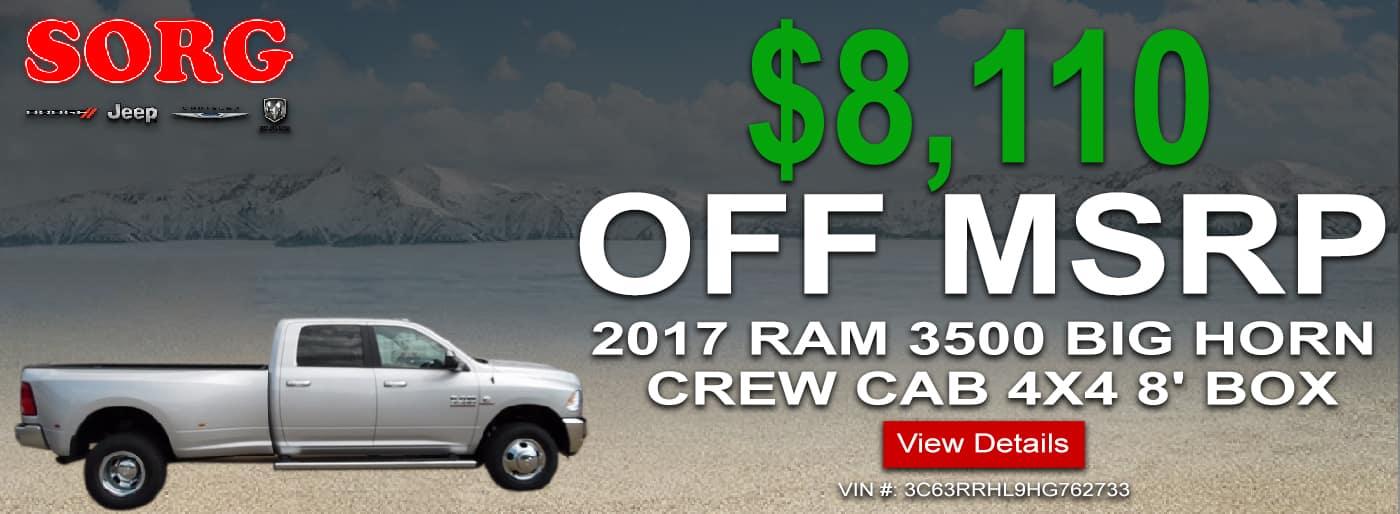 2017 RAM 3500 BIG HORN CREW CAB 4X4 8' BOX