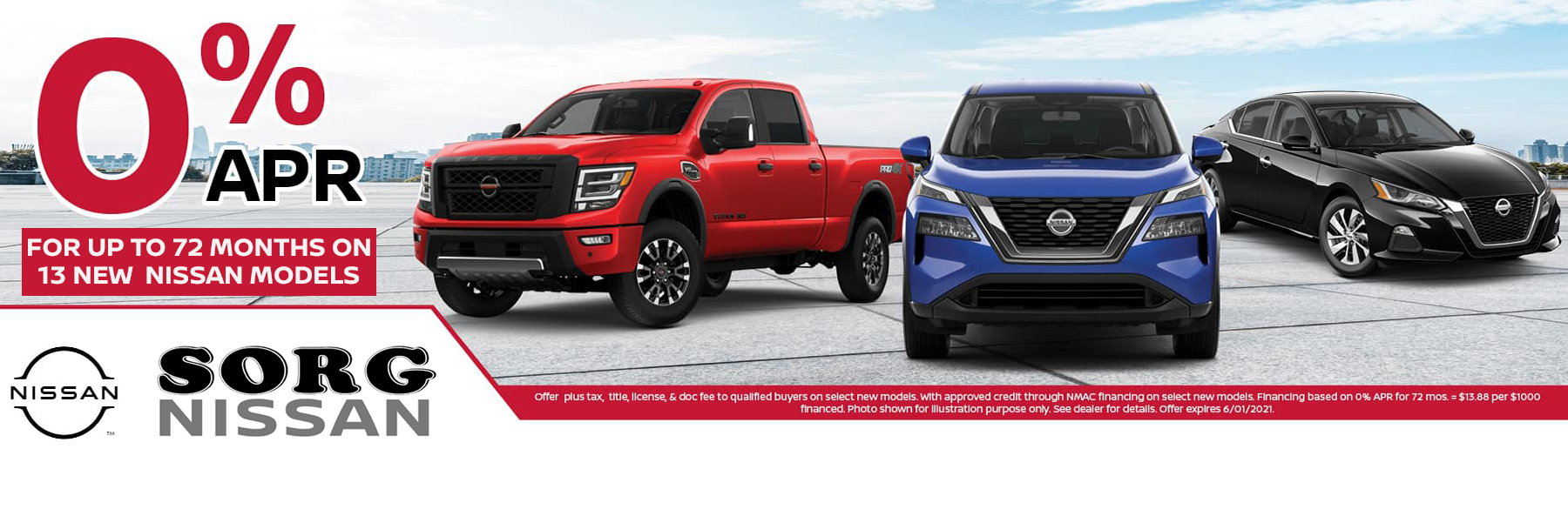 0% on select new Nissan Models
