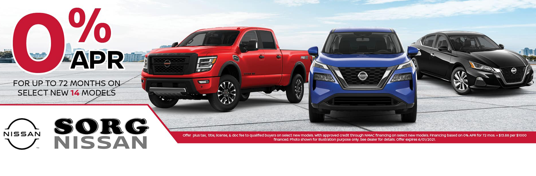 0% financing for up to 72 months on select Nissan models