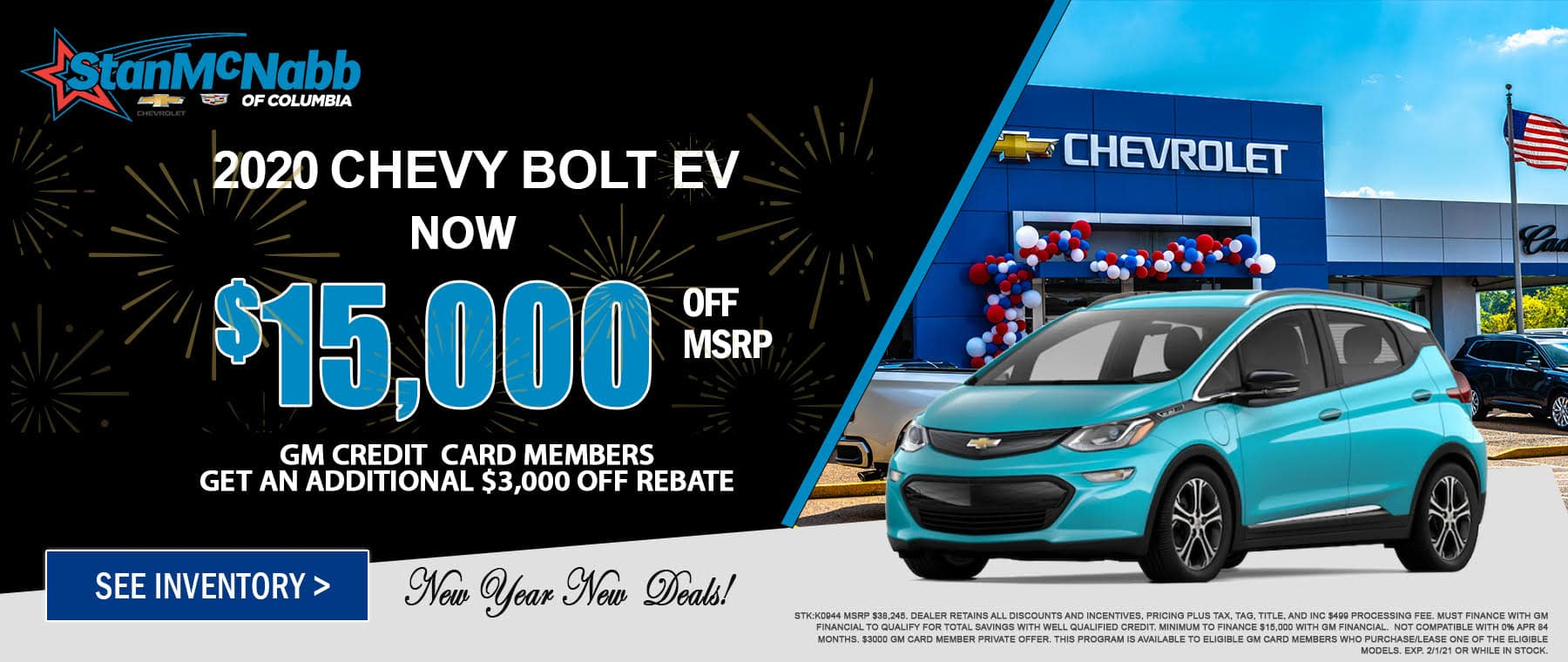 Special on the 2020 Chevy Bolt at Stan McNabb Chevrolet of Columbia