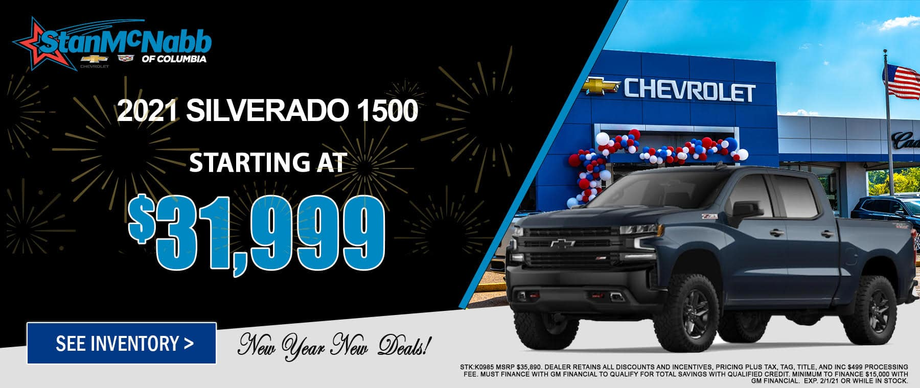 January special on the 2021 Silverado 1500 at Stan McNabb Chevrolet Columbia