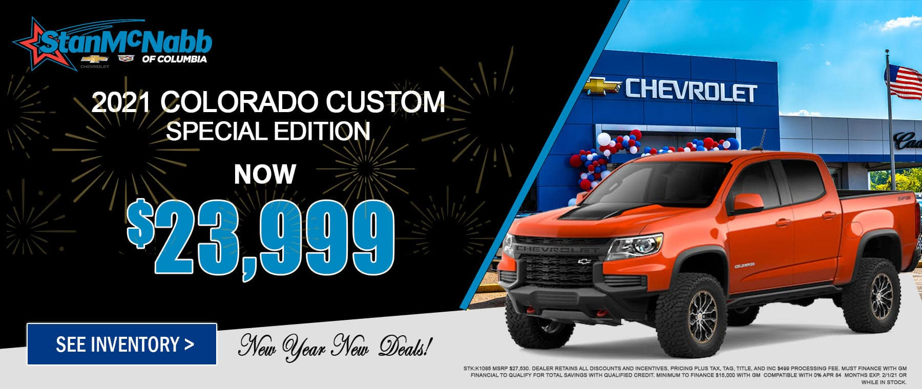 Lease special on the 2021 Colorado at Stan McNabb Chevrolet of Columbia