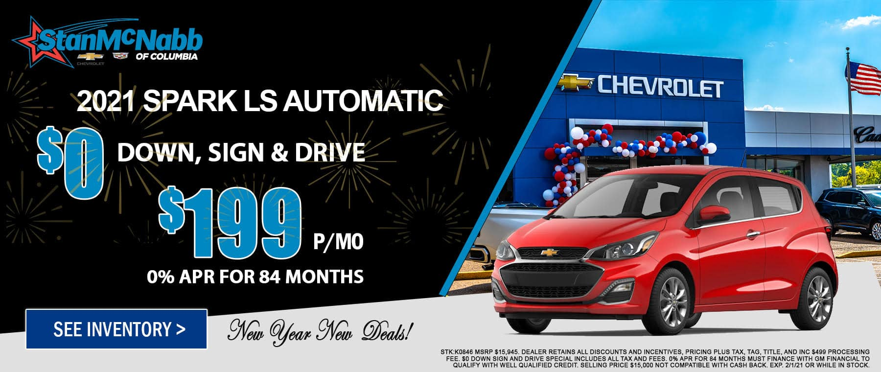 Special on the 2021 Chevy Spark at Stan McNabb Chevrolet of Columbia