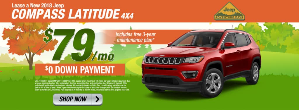 New Lease Specials. NEW 2018 JEEP COMPASS LATITUDE 4X4