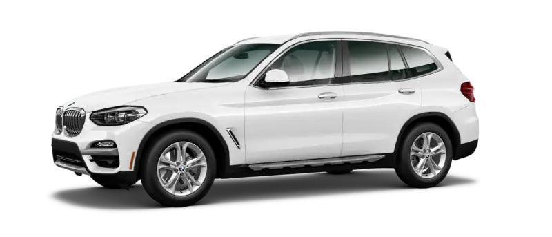 2021 BMW x3 xDRIVE30i white angled