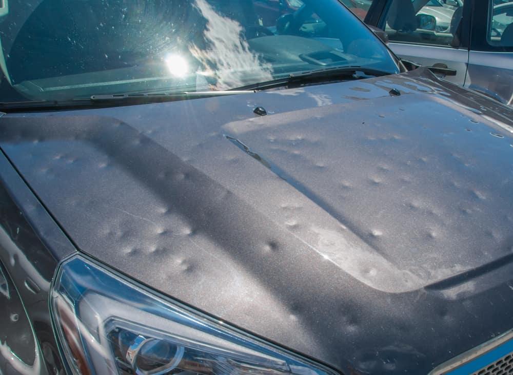 hail damage on a car hood