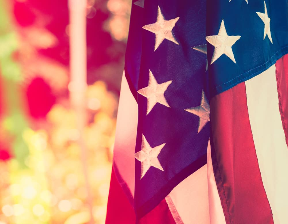 American flag against a springtime background