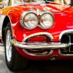 Closeup view of headlights of a classic Corvette