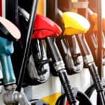 Colorful gasoline pumps all in a row
