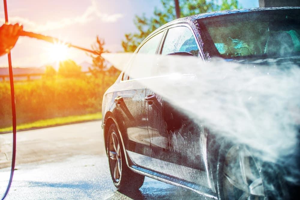 Powerwashing a car