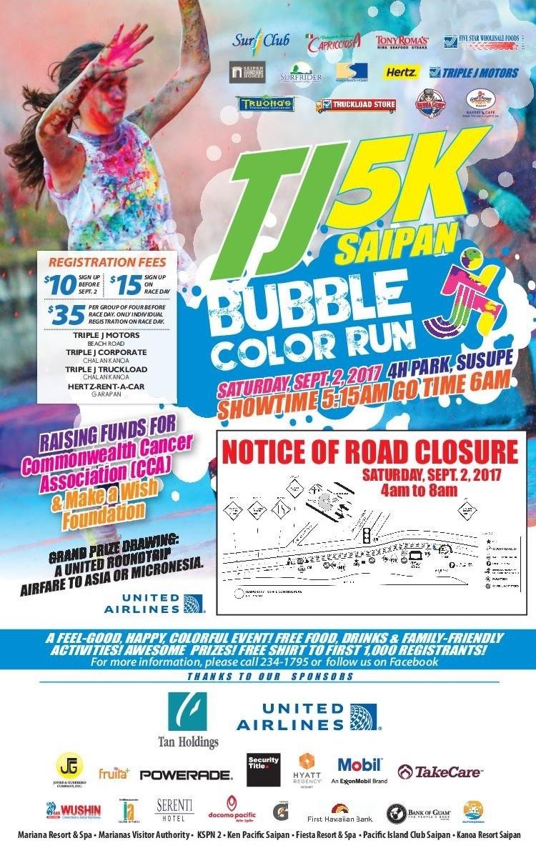 TJ 5K Saipan Bubble Color Run Poster for 2017