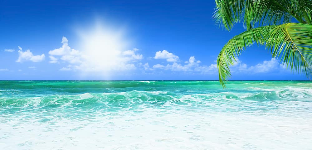 Beach, beautiful panoramic sea view, with clean water, blue sky