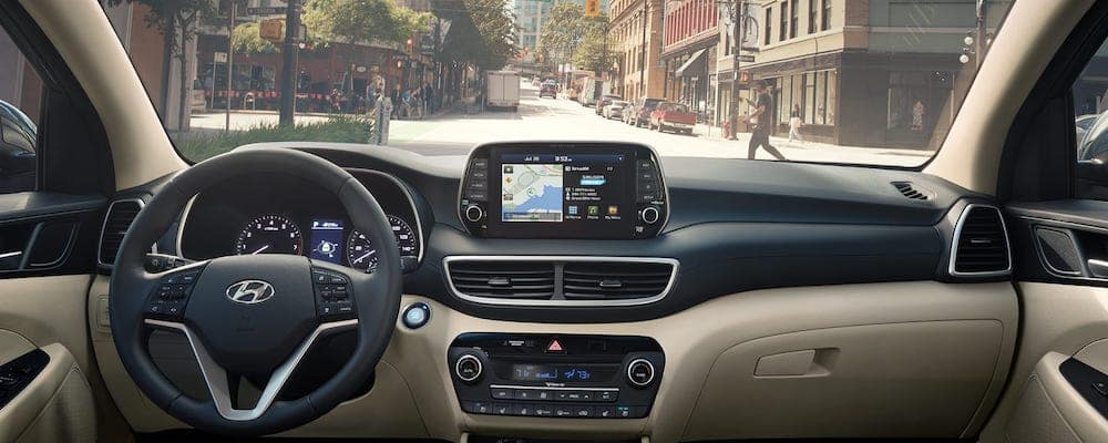 Hyundai navigation open on dashboard inside 2019 Hyundai Tucson