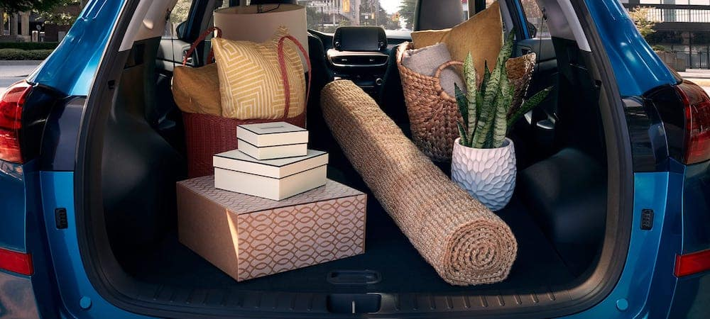Blue 2019 Hyundai Tucson trunk packed with rug, plant, pillows, and other home goods