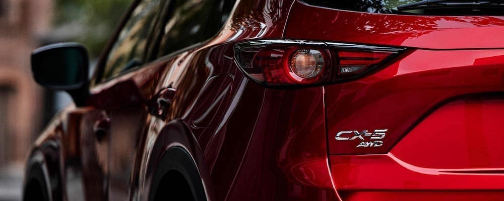 Close rear view of red 2019 Mazda CX-5 Grand Touring Reserve