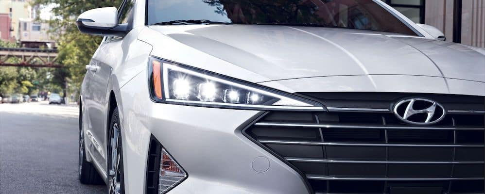 White 2020 Hyundai Elantra with LED headlights