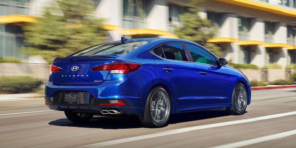 Blue 2020 Hyundai Elantra Sport on City Street